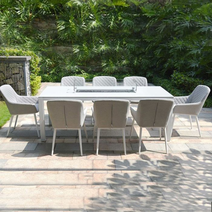 Maze Outdoor Fabric - Zest 8 Seat Dining with Firepit